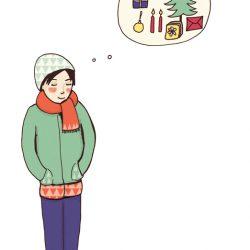 Junge träumt von Weihnachten