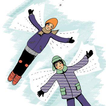 2 Jungen machen Schnee-engel