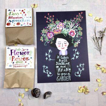 Gärtnerinnenposter und Blumensamen