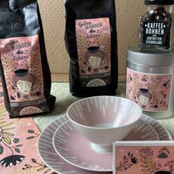 Kaffee Etikett für Bohne und Traube